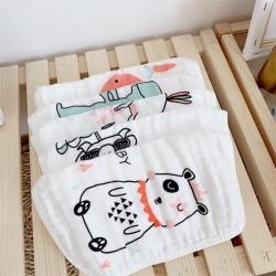 (总)麦吻 2019新款6层纱布全棉北欧抽象小方巾