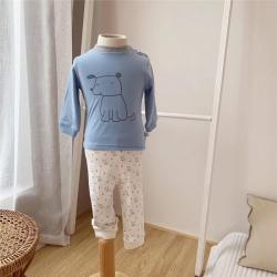 凱芙蘭 藍色小狗肩開上下套裝