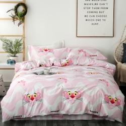 我心家纺 全棉简约小清新四件套粉红豹 顽皮豹三件套床单款