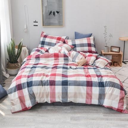 柠萌家居 全棉色织水洗棉三件套四件套床笠款床单款 蓝红中格