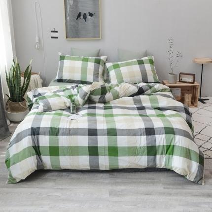 柠萌家居 全棉色织水洗棉三件套四件套床笠款床单款 绿中格
