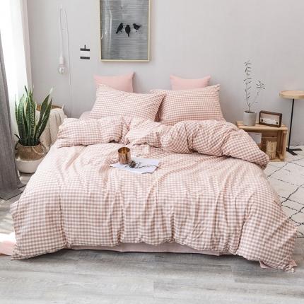 柠萌家居 全棉色织水洗棉三件套四件套床笠款床单款 蜜粉小格