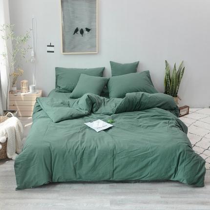 柠萌家居 全棉色织水洗棉三件套四件套床笠款床单款 墨绿色
