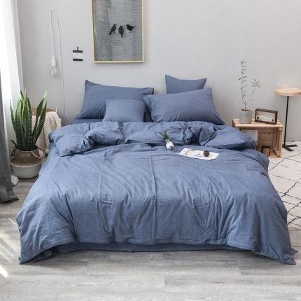 柠萌家居 全棉色织水洗棉三件套四件套床笠款床单款 牛仔蓝