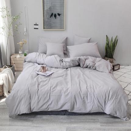 柠萌家居 全棉色织水洗棉三件套四件套床笠款床单款 浅灰色