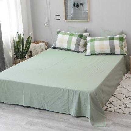 柠萌家居 全棉色织水洗棉无影良品风单床单床笠纯色系列