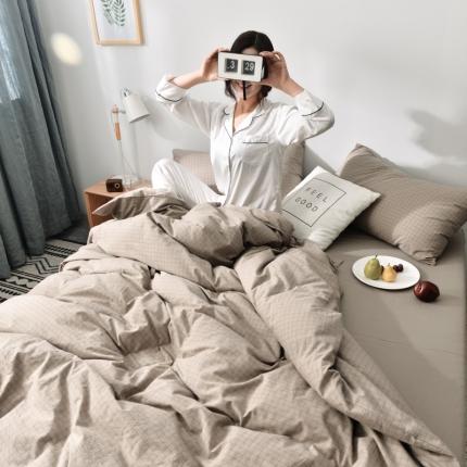 柠萌家居新款全棉色织水洗棉无印良品四件套床单款 小格纹-驼色