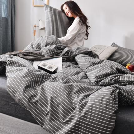 柠萌家居新款全棉色织水洗棉无印良品四件套床单款中条纹-深灰色