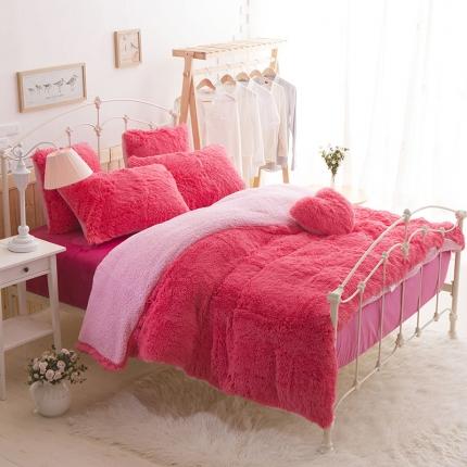桔子家纺 2016新色水貂绒四件套床裙款 玫红