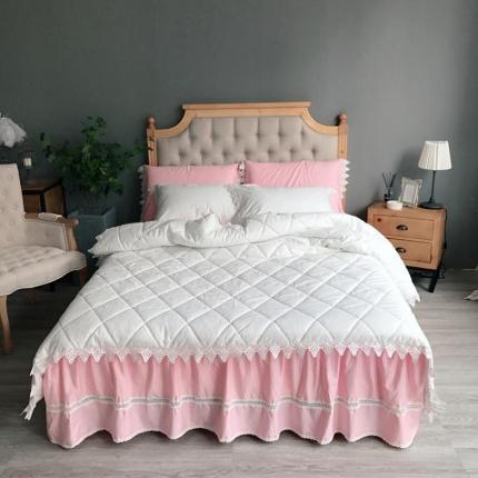 桔子家纺 全棉贡缎绗缝床裙款系列四件套西西里(白被粉裙)
