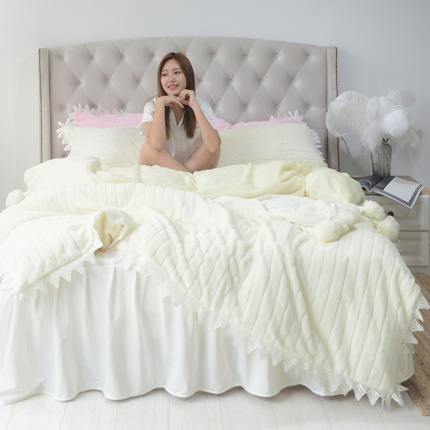 (总)桔子家纺 兔兔雕花绒四件套床单款