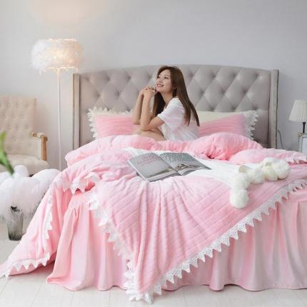 桔子家纺 兔兔雕花绒四件套床单款兔兔绒粉