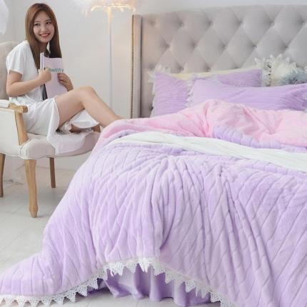 桔子家纺 兔兔雕花绒四件套床单款兔兔绒紫