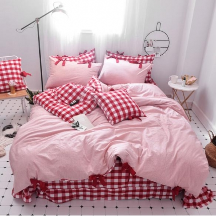 桔子家纺 2018新款(草莓女孩)四件套床单款红白格