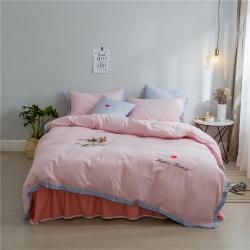 (总)桔子家纺 夏洛特系列全棉磨毛拉绒六件套床单款实拍