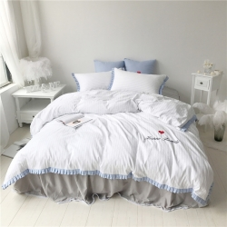 桔子家纺 夏洛特系列全棉磨毛拉绒六件套床单款手机版夏洛特白条