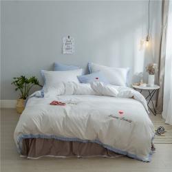 桔子家纺 夏洛特系列全棉磨毛拉绒六件套床单款实拍 夏洛特白条