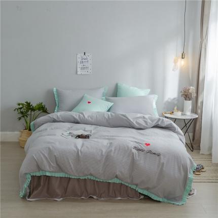 桔子家纺 夏洛特系列全棉磨毛拉绒六件套床单款实拍 夏洛特灰条
