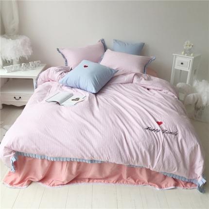 桔子家纺 夏洛特系列全棉磨毛拉绒六件套床单款手机版夏洛特粉条