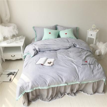 桔子家纺 夏洛特系列全棉磨毛拉绒六件套床单款手机版夏洛特灰条