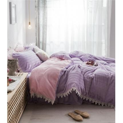 桔子家纺 兔兔雕花绒系列三件套四件套床单款实拍 紫