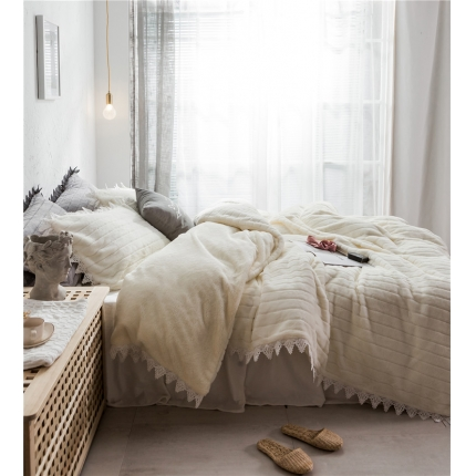 桔子家纺 兔兔雕花绒系列三件套四件套床单款电子版 驼