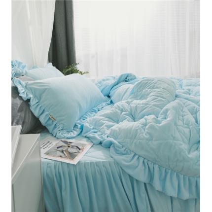桔子家纺 水晶绒绗缝四件套菱形格 菱格-天蓝