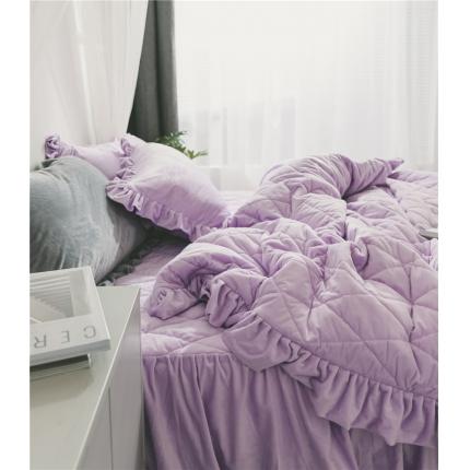 桔子家纺 水晶绒绗缝四件套菱形格 菱格-紫