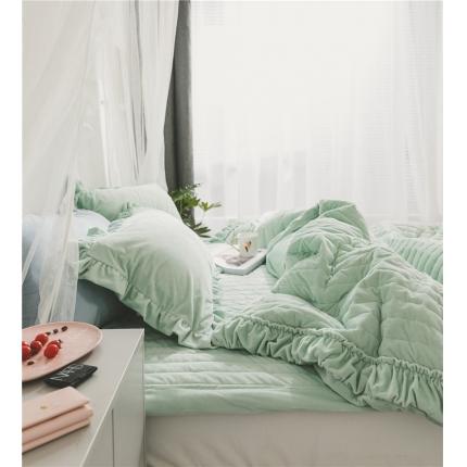 桔子家纺 水晶绒绗缝四件套竖条 竖条-绿