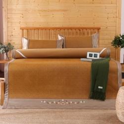 【四季备货】绣花古藤席加厚凉席可折叠冰丝席藤席三件套席子竹席