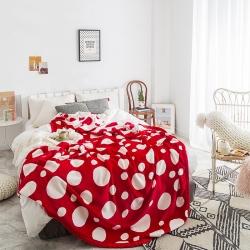慕莎高品質輕奢法萊絨雪花絨牛奶絨毯大牌風潮牌北歐風毛毯波點