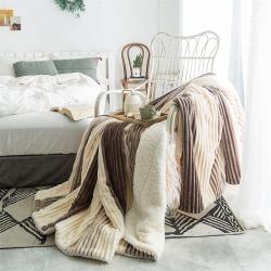 (總)慕莎羊羔絨法萊絨保暖毛毯加厚珊瑚絨魔法絨毯子抽條毛毯