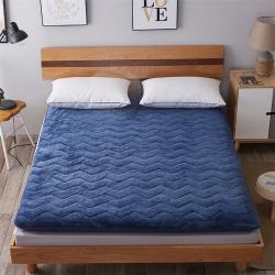 艾尚枕芯 加厚法莱绒绗绣床垫蓝色