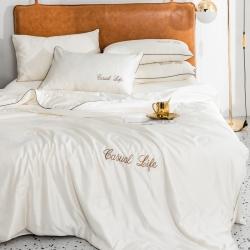 繪萱專版刺繡水洗真絲夏被四件套三件套空調被冰絲夏涼被刺繡米黃