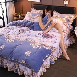 (总)新品牛奶绒金貂绒四件套水晶绒床裙款床裙式法莱绒四件套