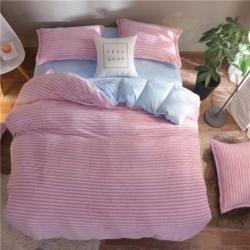 小羊人家纺 2018新款法兰绒四件套 粉色条纹