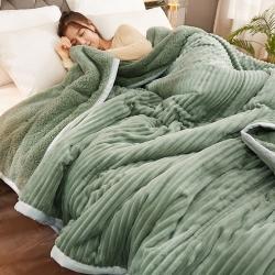 (总)卓盈家纺2021新款三层加厚刺绣毛毯法莱绒羊羔绒