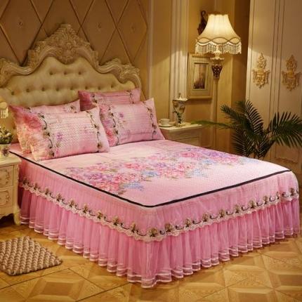 好儿喜家纺  冰丝席凉席床裙韩式冰丝床裙韩式-曼陀罗