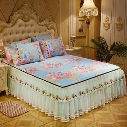 好儿喜家纺  冰丝席凉席床裙韩式冰丝床裙韩式-牡丹情