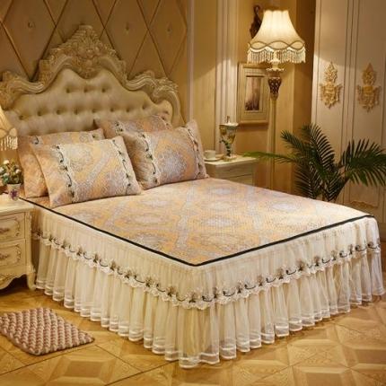 好儿喜家纺  冰丝席凉席床裙韩式冰丝床裙韩式-索菲亚