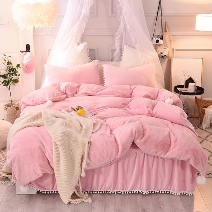 (总)宅家居 韩版公主风毛球花边床裙法莱绒水晶绒四件套