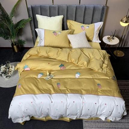 宅家居 2019新款贡缎刺绣60s长绒棉四件套甜蜜草莓-姜黄