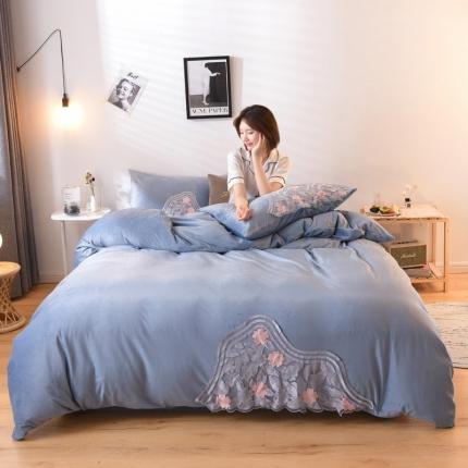 KA家纺 2019爱丽丝系列宝宝绒四件套 爱丽丝冰雪蓝