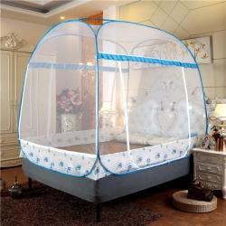 佳睡蚊帳 大頂加密免裝蒙古包蚊帳三開門 花開朵朵藍