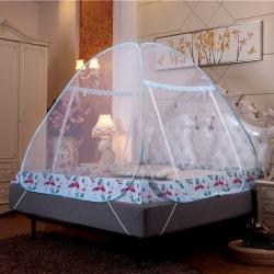 佳睡蚊帳 夜光拉鏈免安裝蚊帳蒙古包雙開門加密 火烈鳥藍