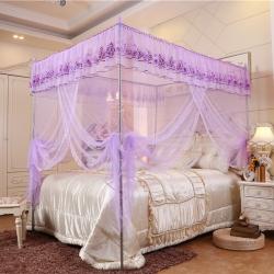 佳睡蚊帳 新款三開門不銹鋼落地雙人宮廷蚊帳公主風 浪漫花開紫