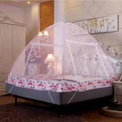 佳睡蚊帳 夜光拉鏈免安裝蚊帳蒙古包雙開門加密 火烈鳥粉
