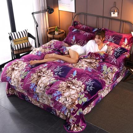 美之星防静电加厚小版牛奶绒金貂绒法莱绒水晶绒四件套花语怡然紫