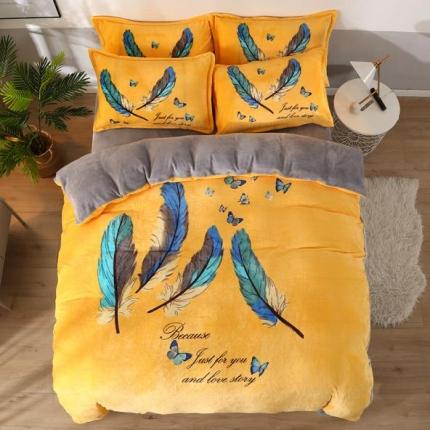 美之星防静电加厚大版牛奶绒金貂绒法莱绒水晶绒四件套嫣羽情深黄