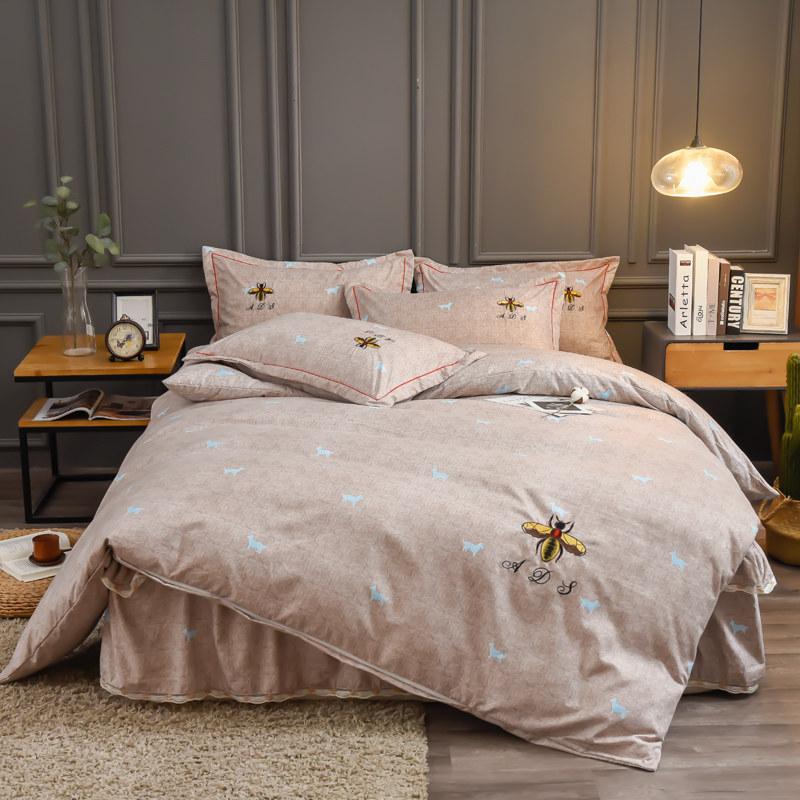(总)艾迪尚家纺 铂金棉绣花四件套床单款